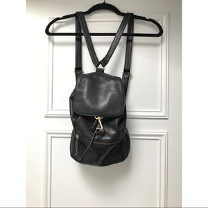 Vintage 90's black leather drawstring backpack
